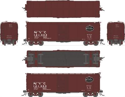 Image of item 1760 NYC Steel Box Car, #121333, with Dreadnaught ends, post-1955 Extended Gothic lettering, HO