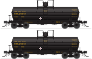 Image of item 6468 6000 Gallon Tank, UTLX, Black w/ yellow lettering, 2-pack, HO (UTLX #81143, UTLX #81146)