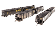 Image of item 5629 3-Bay Hopper, CSX, Black w/ Yellow Lettering, 6-pack, HO