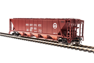 Image of item 1880 H32 Covered Hopper, PRR, Freight Car Red with White Circle Keystone, 4-pack A, HO