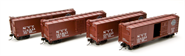 Image of item 1753 NYC Steel Box Car, 4-pack: #121263, #121876, #122545, #122820, (with Dreadnaught ends, post-1955 Extended Gothic lettering), HO